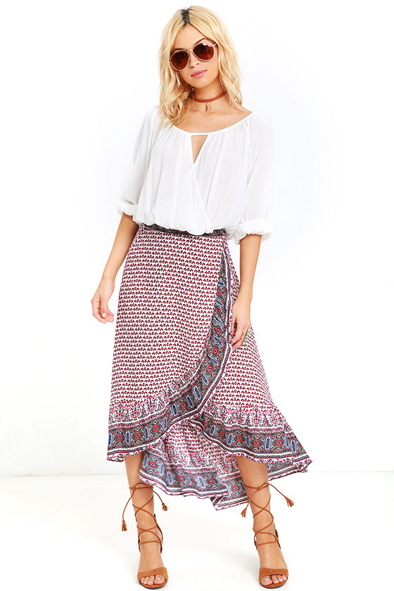 211615ea0 Boho Ivory Print Skirt - Wrap Skirt - High-Low Skirt - $46.00