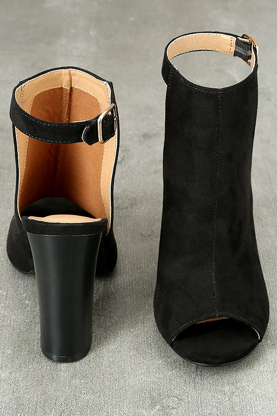 Budding Romance Black Suede Peep-Toe Booties 2