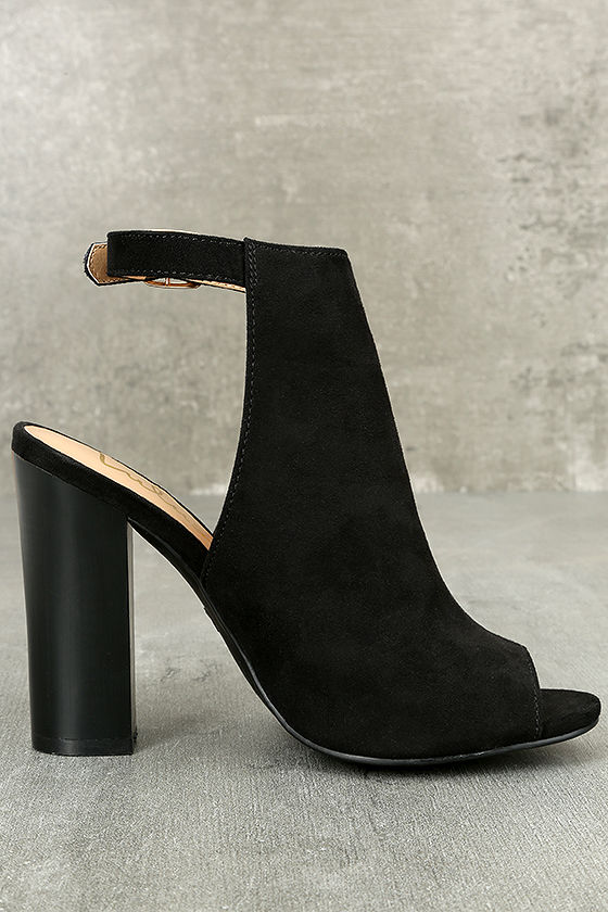 Budding Romance Black Suede Peep-Toe Booties 3