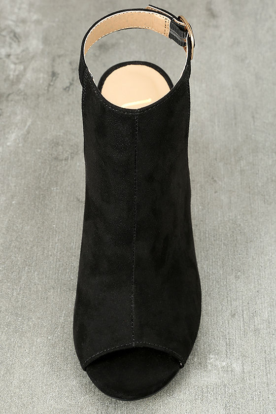 Budding Romance Black Suede Peep-Toe Booties 4