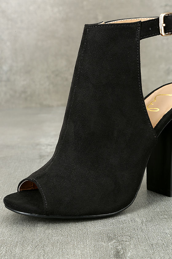 Budding Romance Black Suede Peep-Toe Booties 5