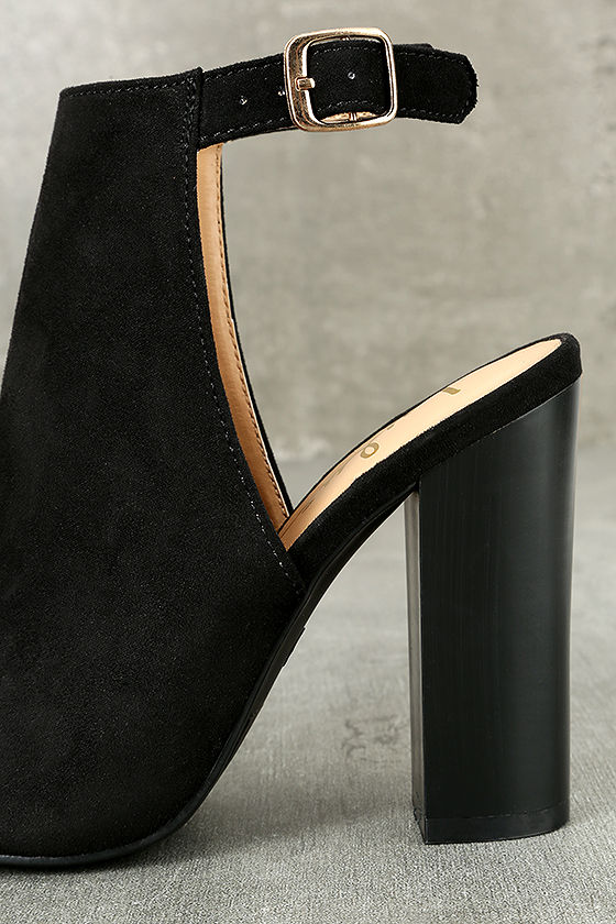 Budding Romance Black Suede Peep-Toe Booties 6