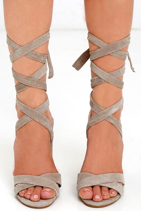6d132d59599 Steve Madden Christey Taupe Suede Leather Lace-Up Heels