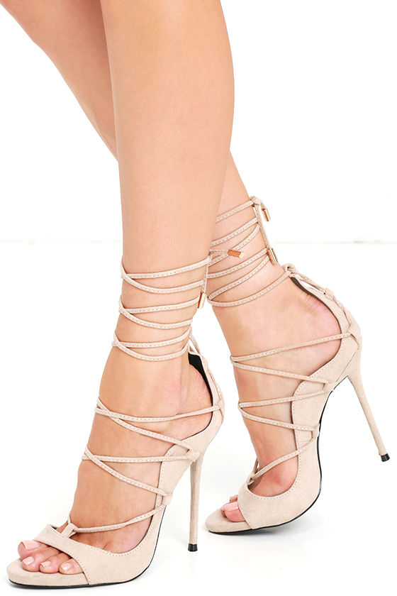 Party Anthem Nude Suede Lace-Up Heels 1