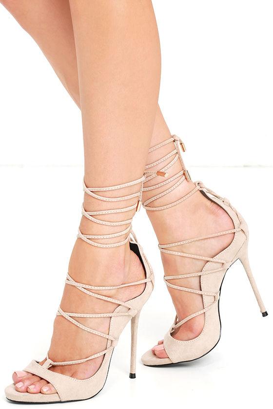 Sexy Nude Heels - Suede Heels - Lace-Up Heels - $41.00