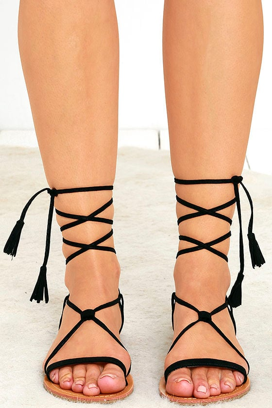 2765344a41db8b Cute Black Sandals - Flat Sandals - Lace-Up Sandals -  14.00