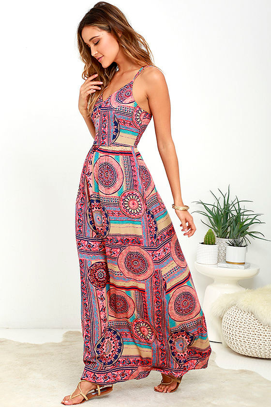 Sunrise to Sunset Coral Pink Print Maxi Dress 1