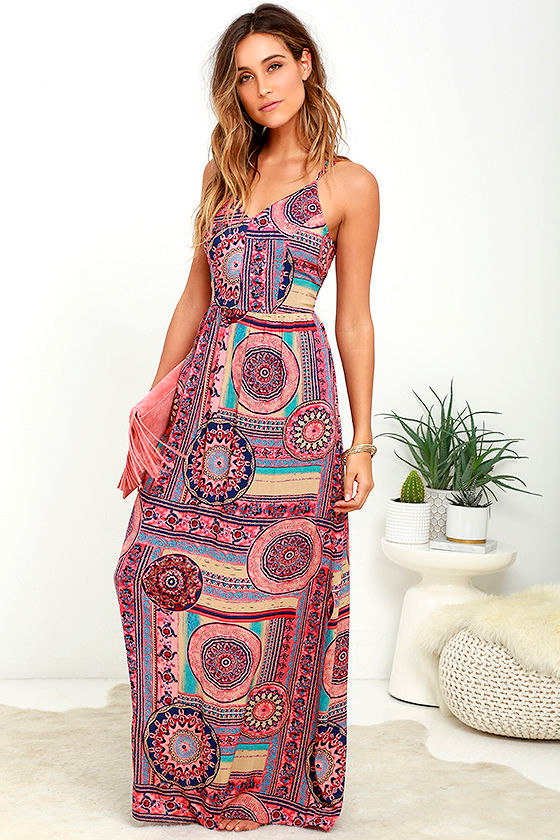 Sunrise to Sunset Coral Pink Print Maxi Dress 2