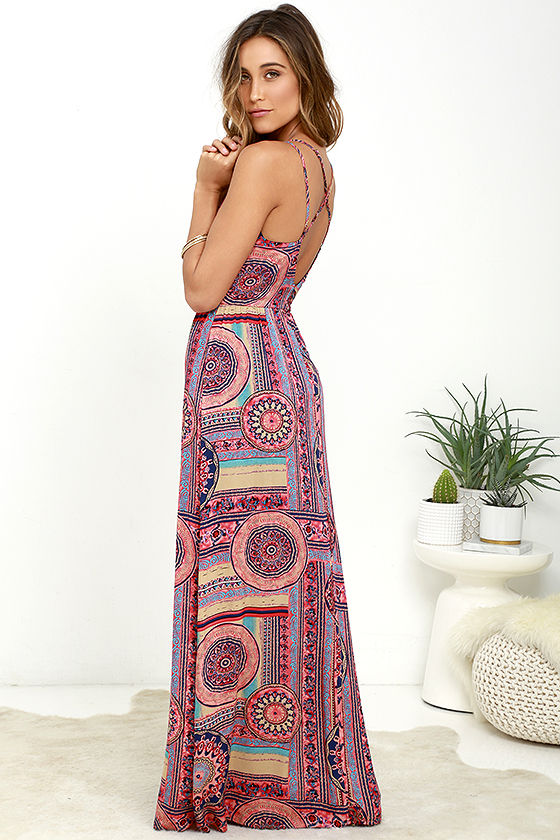 Sunrise to Sunset Coral Pink Print Maxi Dress 3