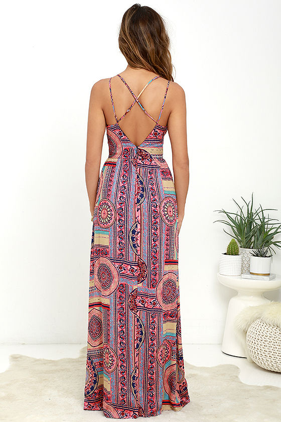 Sunrise to Sunset Coral Pink Print Maxi Dress 4