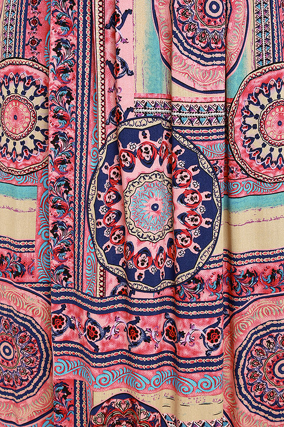 Sunrise to Sunset Coral Pink Print Maxi Dress 6