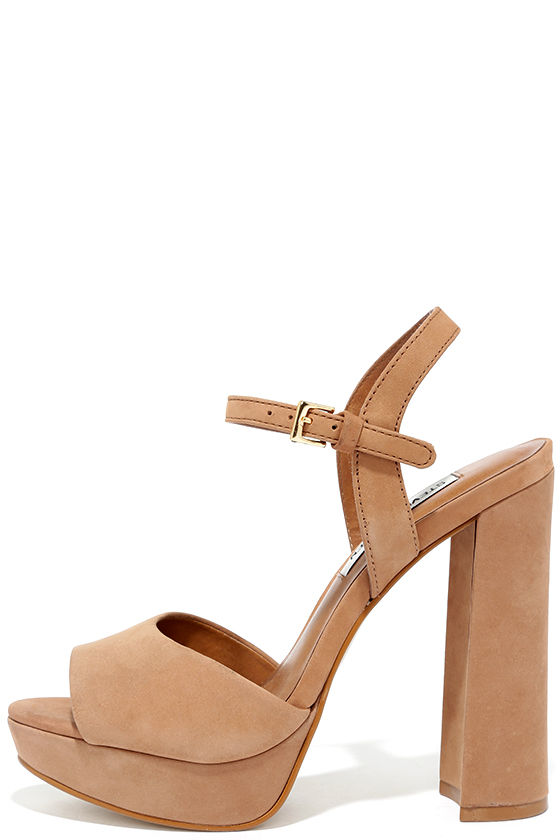 b248ff50d57 Steve Madden Kierra Camel Nubuck Leather Platform Heels