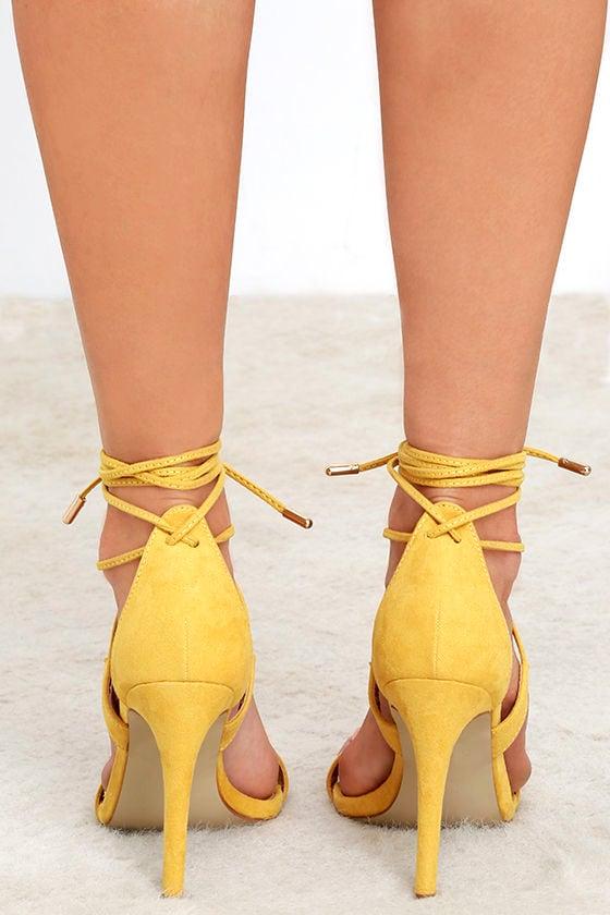 Cute Yellow Heels - Lace-Up Heels - Single Sole Heels - $27.00