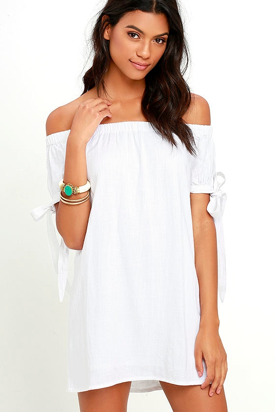 Al Fresco Evenings Ivory Off-the-Shoulder Dress 1