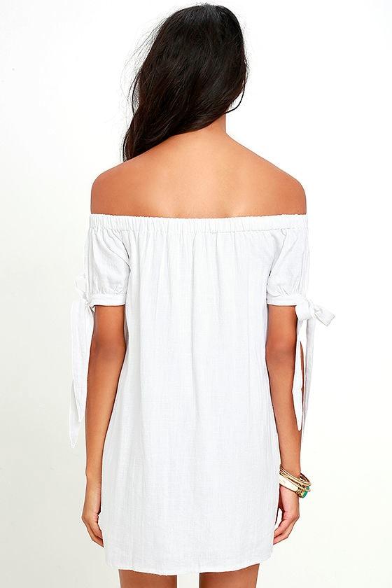 Al Fresco Evenings Ivory Off-the-Shoulder Dress 6