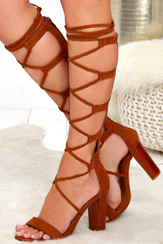 CURTAIN CALL CHESTNUT TALL SUEDE LACE-UP HEELS Image