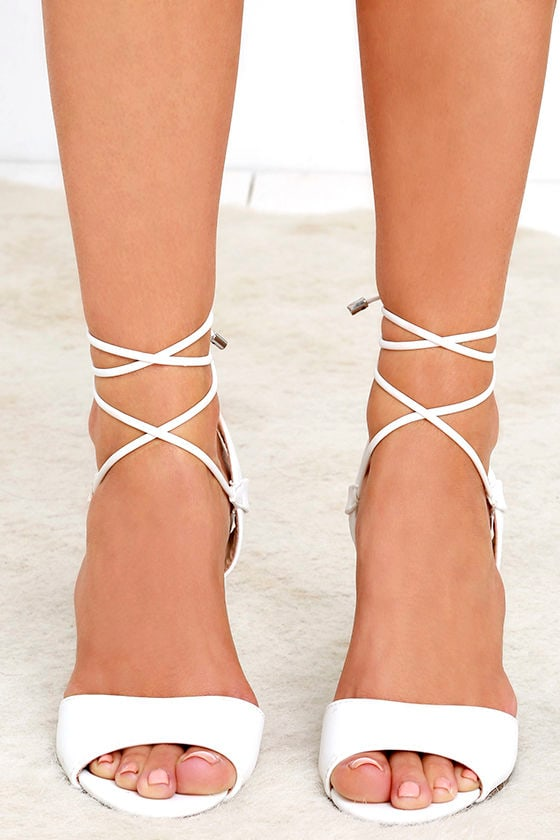 Chic White Heels - Vegan Leather Heels - Lace-Up Heels - $26.00