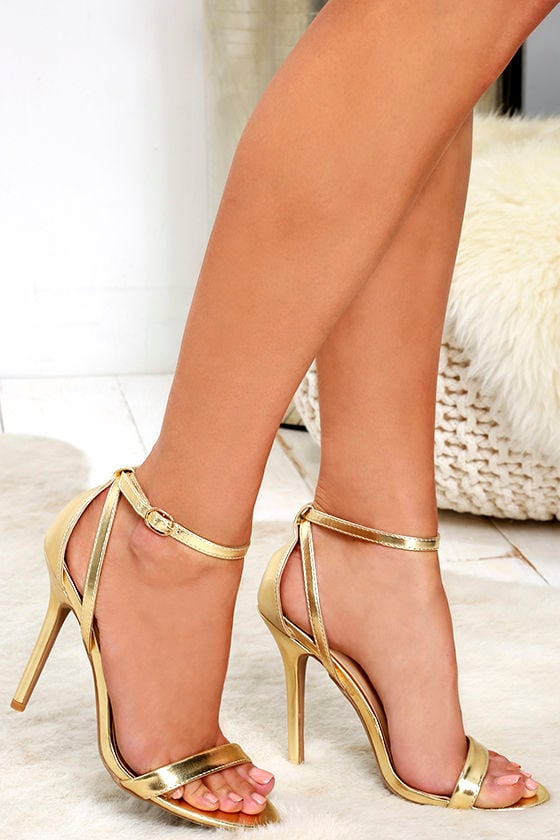 Cute Gold Heels - Ankle Strap Heels - Metallic Heels - $26.00