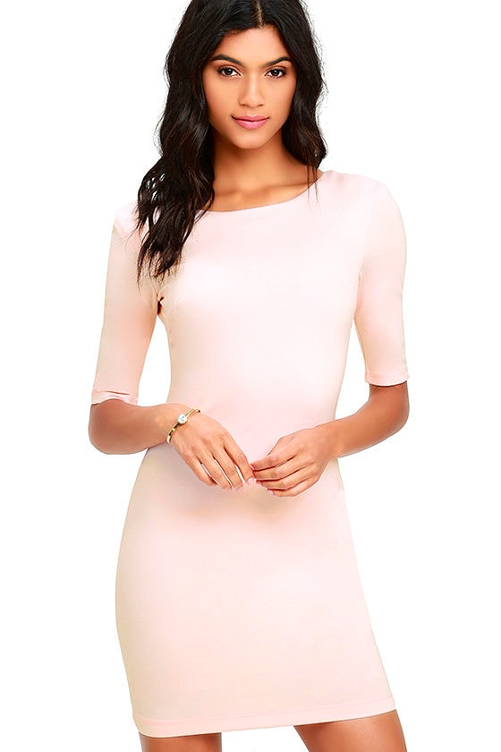 Bodycon Dress Light Pink Dress Short Sleeve Dress 42 00