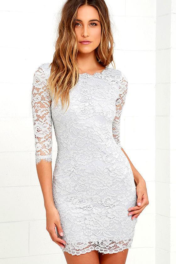 Make An Impression Light Grey Lace Dress