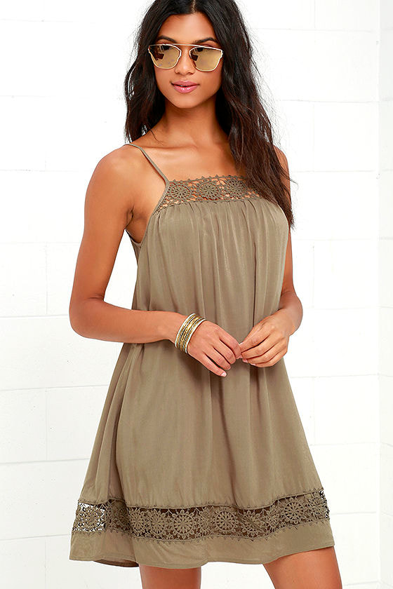 caff6ebe46 Cute Olive Green Dress - Lace Dress - Shift Dress -  54.00
