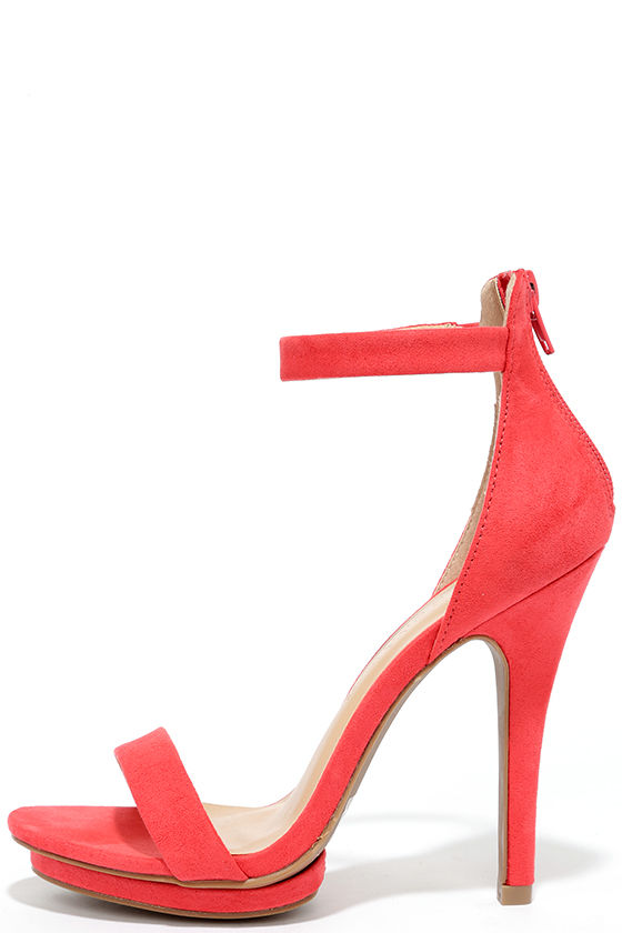 Pretty Coral Heels - Platform Sandals