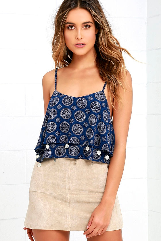 Glamorous Time for Change Navy Blue Print Crop Top