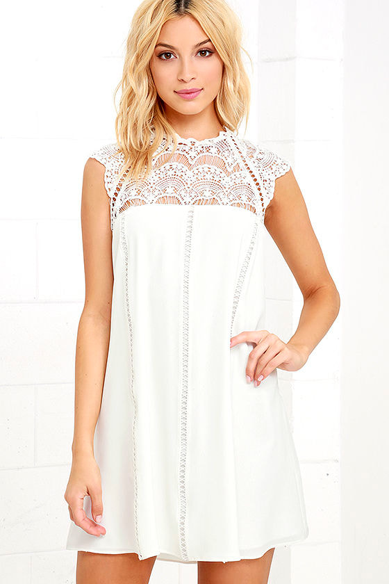 Cute Lace Dress - White Dress - Shift Dress - $82.00