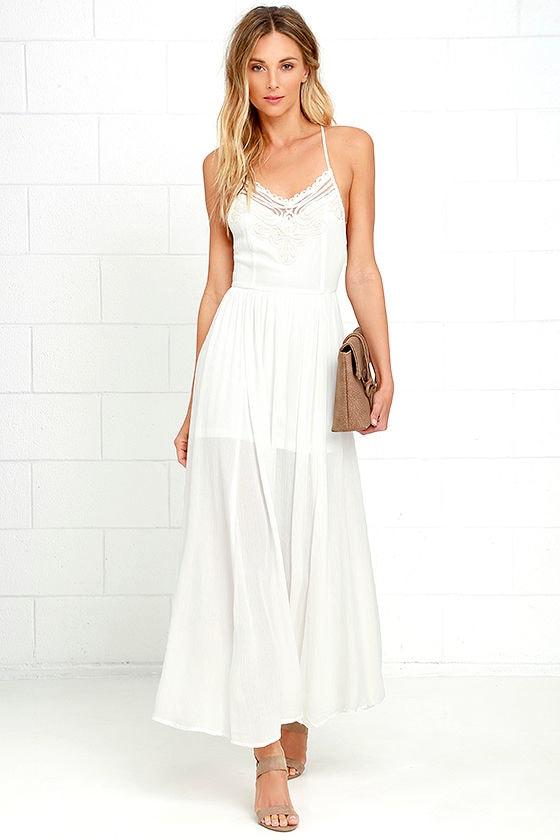 Maxi lace dress spaghetti straps white