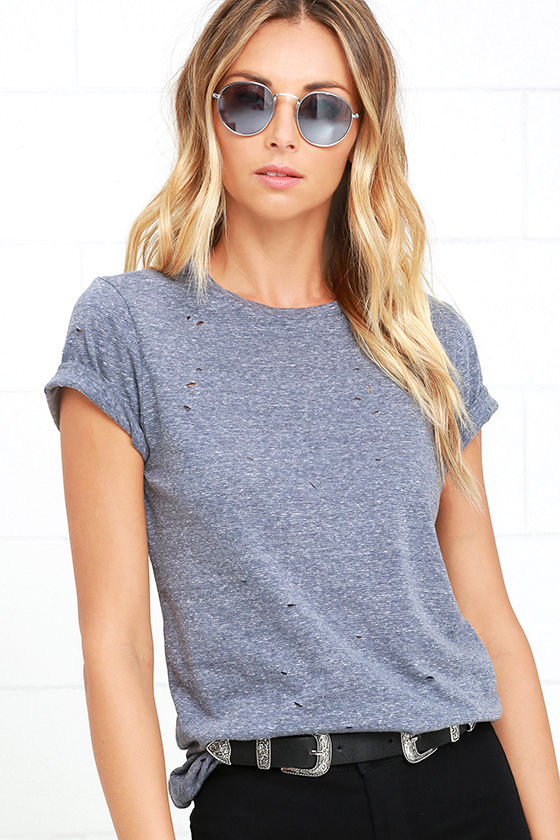 In the Raw Distressed Heather Slate Blue Tee 1