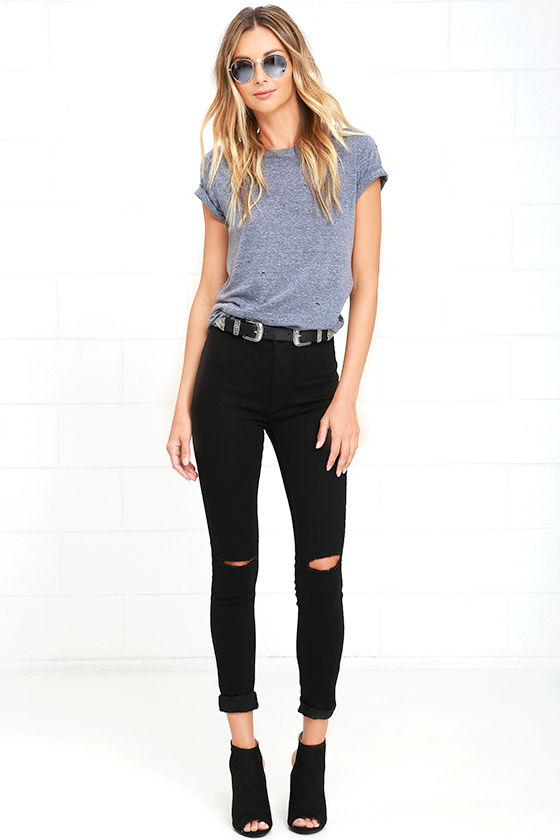 In the Raw Distressed Heather Slate Blue Tee 2