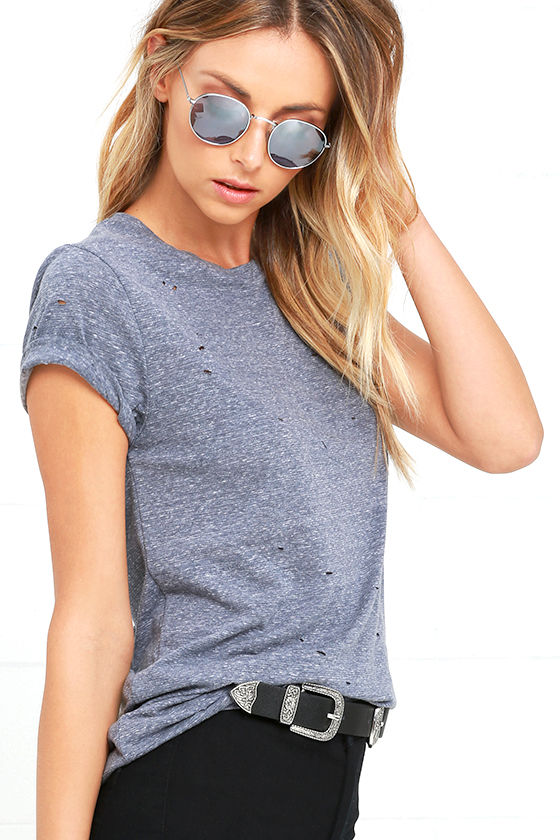 In the Raw Distressed Heather Slate Blue Tee 3