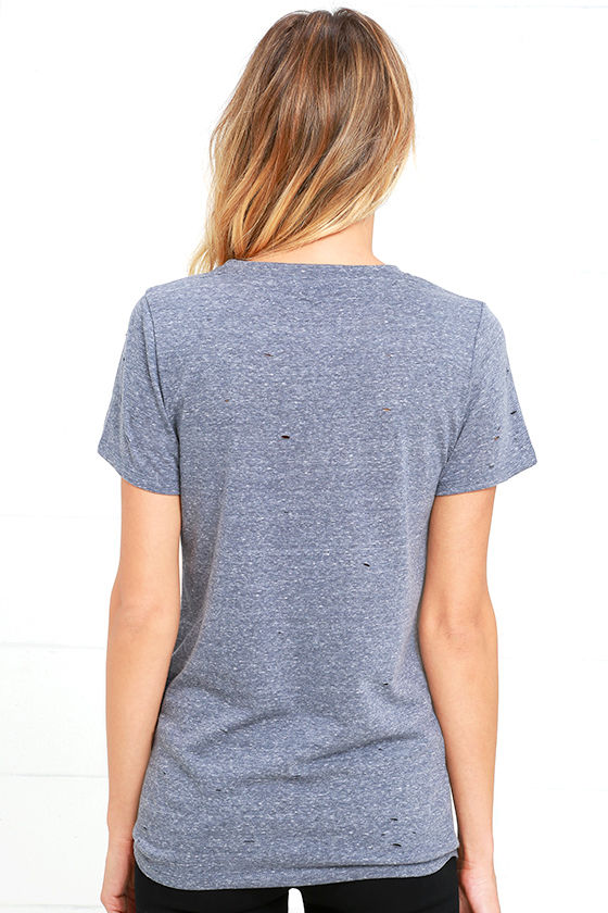 In the Raw Distressed Heather Slate Blue Tee 4