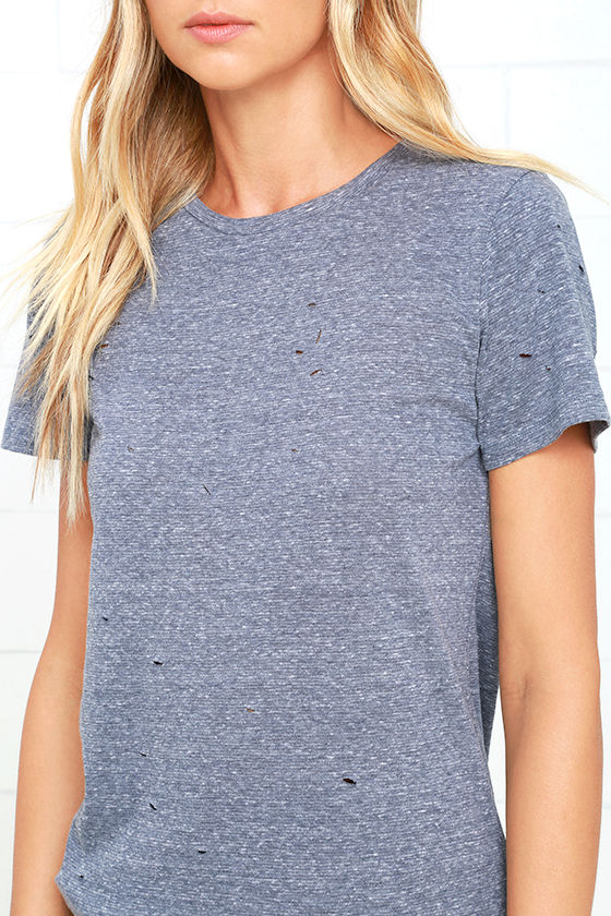 In the Raw Distressed Heather Slate Blue Tee 5