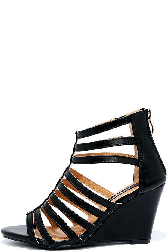dae716ec543 Cute Wedges - Black Heels - Caged Heels -  30.00
