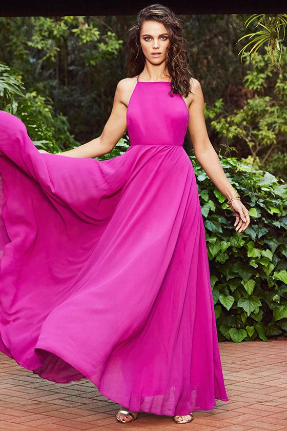 Beautiful Magenta Dress - Maxi Dress - Backless Maxi Dress - $64.00