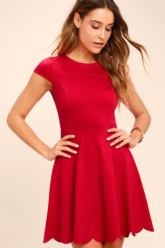 Cute Red Dress - Skater Dress - Fit-and-Flare Dress - $52.00