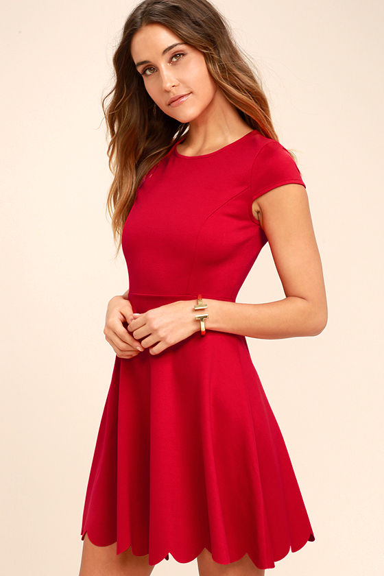c86e1d3a0ea08 Cute Red Dress - Skater Dress - Fit-and-Flare Dress -  52.00