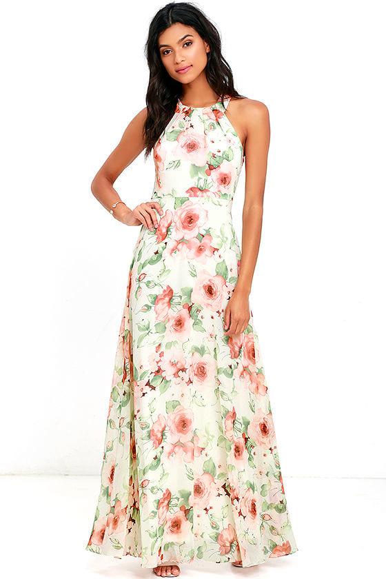 ab0ff19c94 Pretty Ivory Dress - Floral Print Dress - Maxi Dress - $94.00
