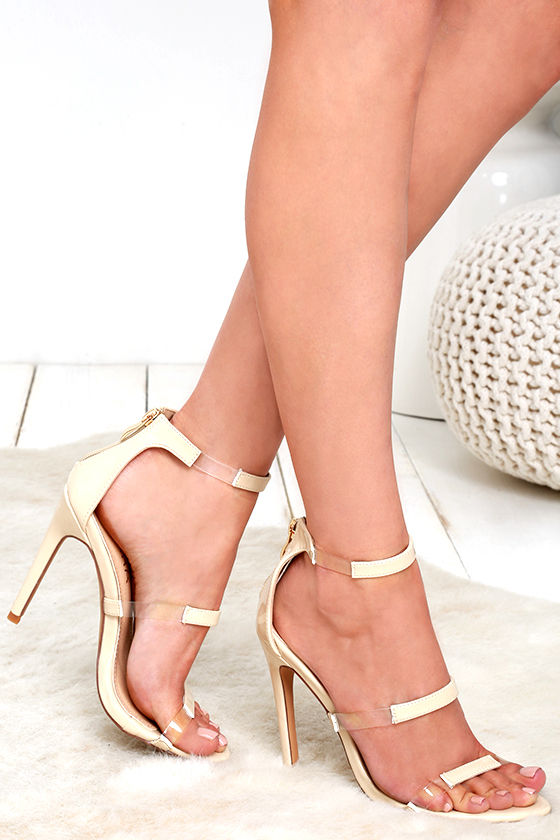 8a9bf1536c9 Sexy Nude Heels - Patent Heels - Ankle Strap Heels - Lucite Heels -  29.00