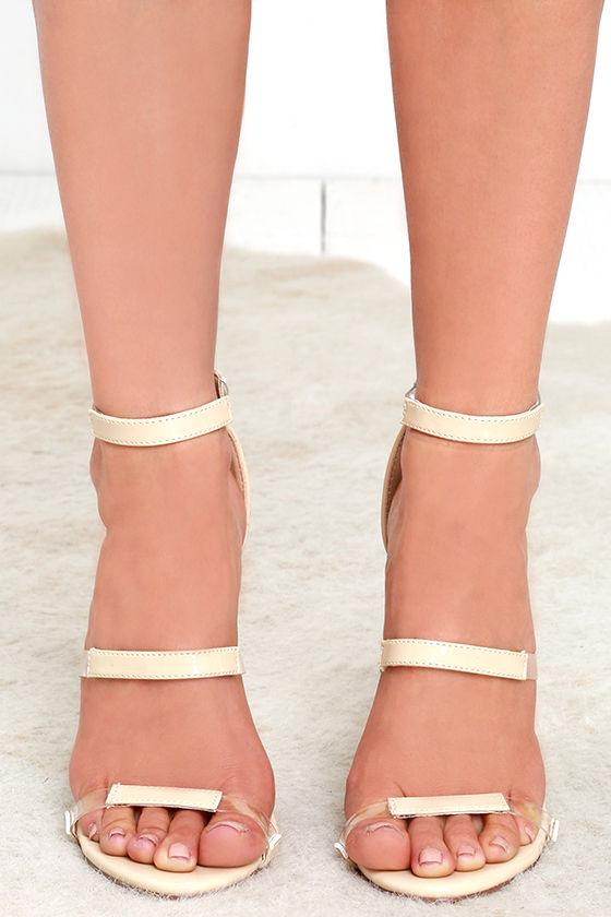 d164c9872d3 Sexy Nude Heels - Patent Heels - Ankle Strap Heels - Lucite Heels ...