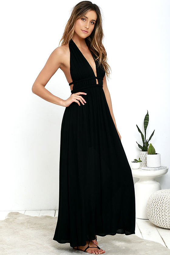 Maxi Dress - Black Dress - Halter Dress - Backless Dress - $54.00