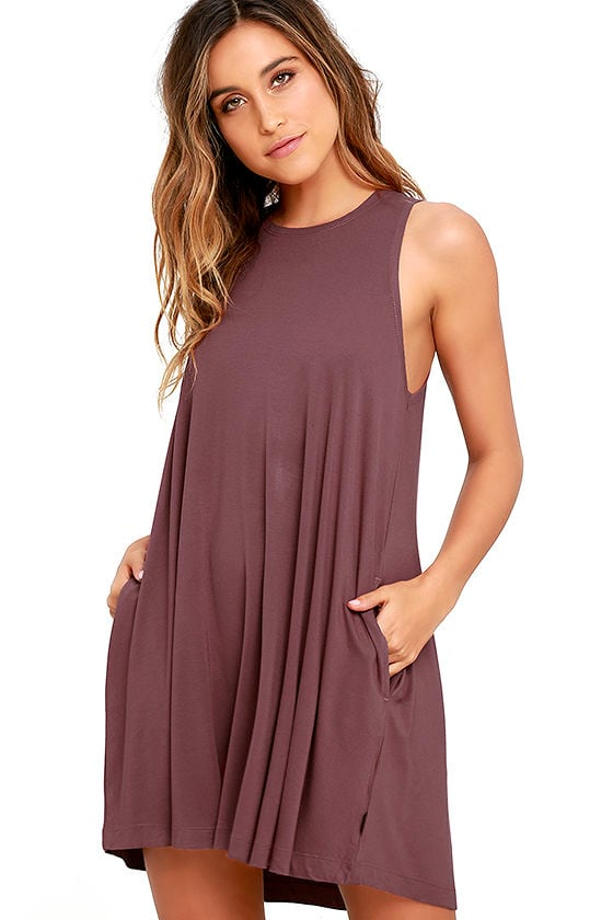 RVCA Sucker Punch 2 Mauve Swing Dress 1