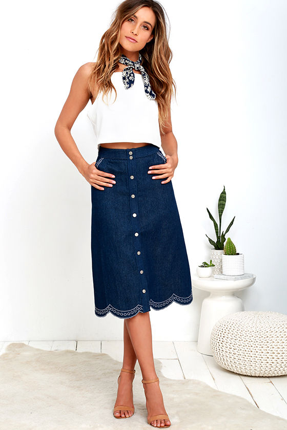 Cute Midi Skirt - Denim Skirt - Scalloped Skirt - Embroidered ...