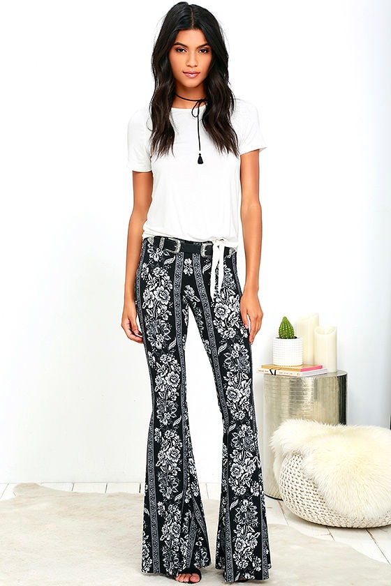 beauty special selection of for sale Foxglove Fairy Black Floral Print Flare Pants