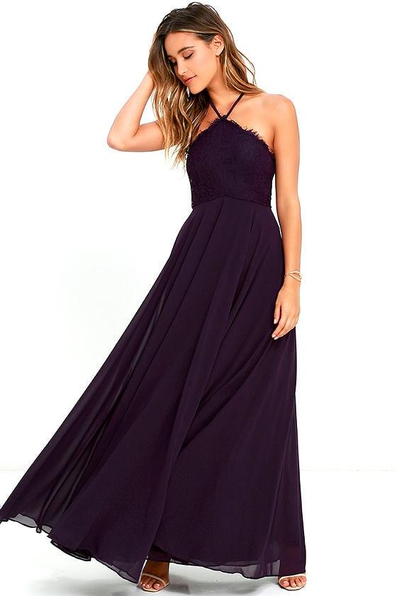 ac7132de1c9 Stunning Purple Dress - Maxi Dress - Halter Dress - Lace Dress -  84.00