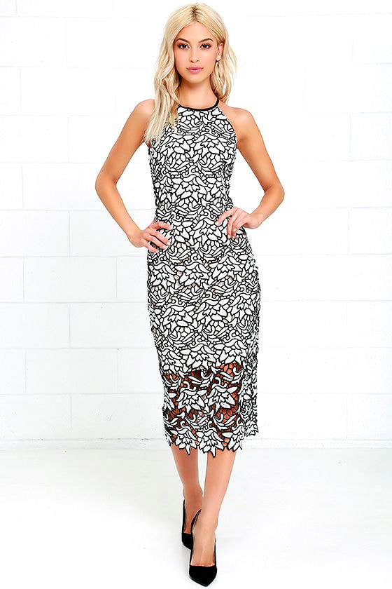 Keepsake Dress - Lace Dress - Black and White Dress - Midi Dress ...