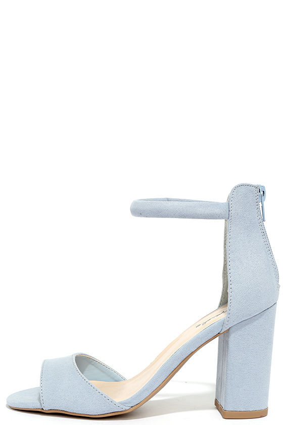 Blue Suede Shoes - Light Blue Heels - Ankle Strap Heels - $27.00