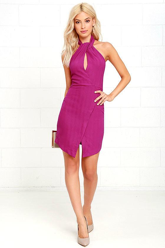 Sexy Magenta Dress - Halter Dress - Sheath Dress -  49.00 f67f5ade1
