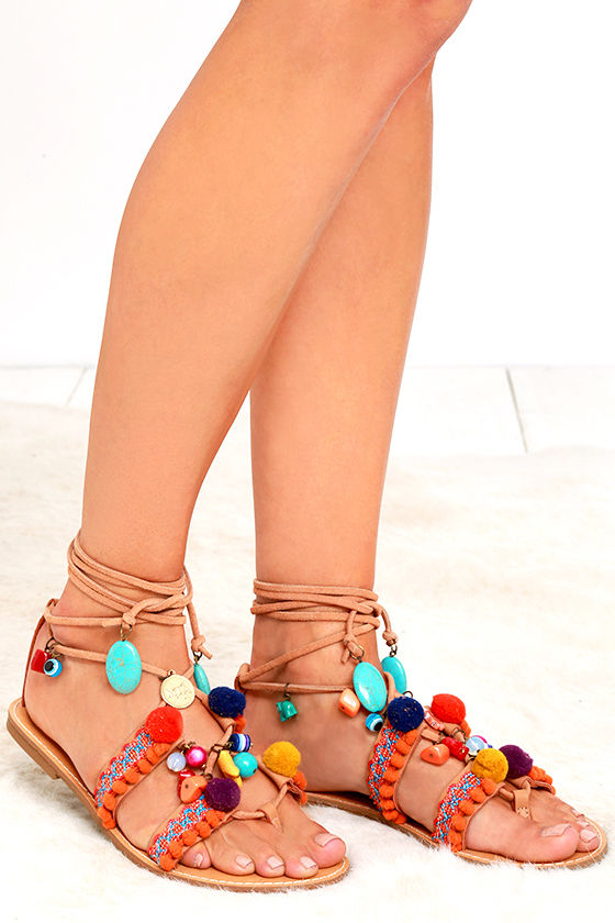 606e7299152a22 Mia Renata - Tan Thong Sandals - Pompom Sandals - Beaded Sandals -  63.00